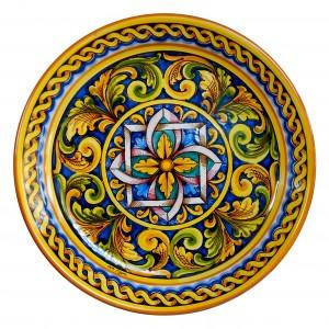 Piatto in ceramica diam 43 decoro barocco